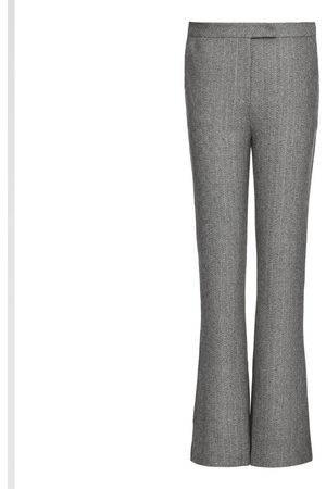 Women's Grey Wool Marled Straight-Leg Pants Small Smart and Joy