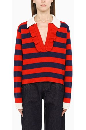Philosophy Women Sweaters - Blue/red striped sweater with ruffles