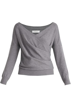 Women's Non-Toxic Dyes Grey Knitted Wrap Top With Long Sleeves In Large PAISIE