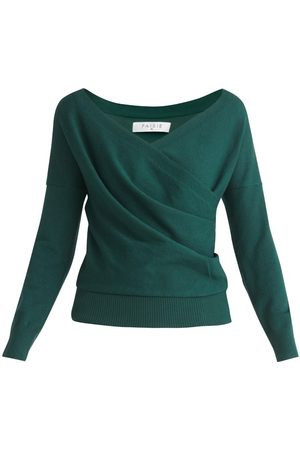 Women's Non-Toxic Dyes Green Knitted Wrap Top With Long Sleeves In Small PAISIE