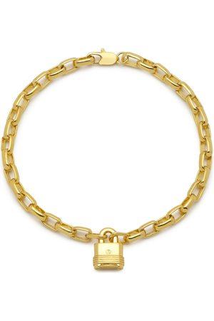 Men Bracelets - Men's Gold Lock Chain Bracelet In Northskull