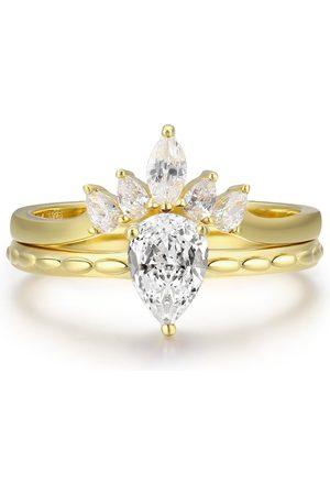 Women's White Cotton Supreme & Harmony Topaz Ring Set Azura Jewelry