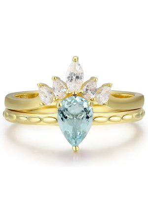 Women's Aquamarine Cotton Supreme & Harmony Ring Set Azura Jewelry