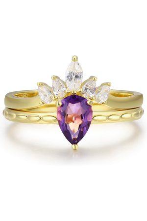 Women's White Cotton Supreme Topaz & Harmony Amethyst Ring Set Azura Jewelry