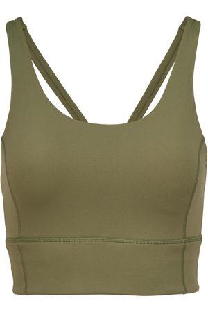 Women Sports Bras - Women's Recycled Peach Fabric Low Impact Khaki Sports Bra Small Perky Peach
