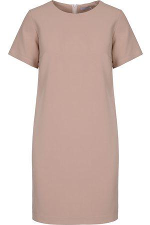 Women Party Dresses - Women's Artisanal Natural Beige Simple Dress Medium Mefese