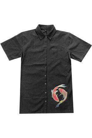 Women's Artisanal Black Cotton Two Tone Mini Shirt Dress - Koi Screen Print Small Zenzee