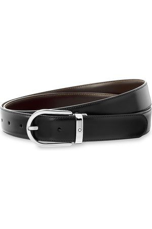 Montblanc Men Belts - Horseshoe Leather Buckle Belt