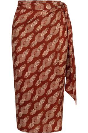 Women Printed Skirts - Women's Brown Silk Sarong Skirt Simple Motif Print Medium AOB - Ankara on Brand