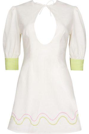 Women Party Dresses - Women's White Cotton Serena Dress Large CINTA THE LABEL