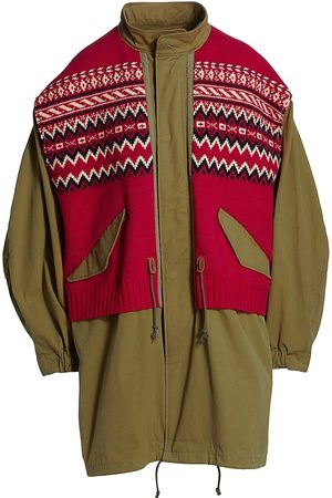 JUNYA WATANABE Women Coats - Layered Jacquard Knit Coat