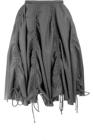 Women Asymmetrical Skirts - Women's Grey Gathered Skirt 28in QUOD