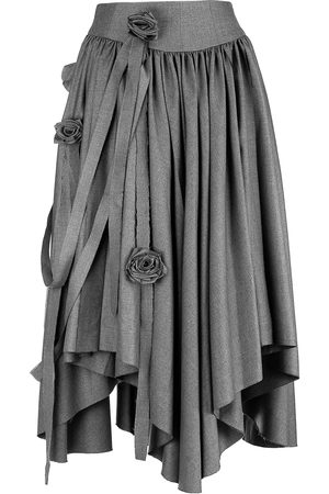 Women Asymmetrical Skirts - Women's Grey Fabric Foliage Garden Skirt 34in QUOD