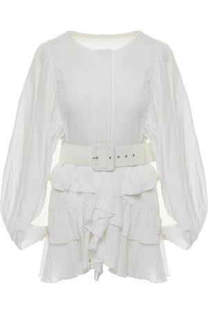 Women's White Cotton Mini Dress With Ruffles & Belt Large BLUZAT