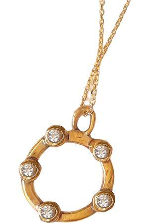 Women Necklaces - Women's Artisanal Gold 5 Diamond Bezel Set Circle Necklace Lily Flo Jewellery