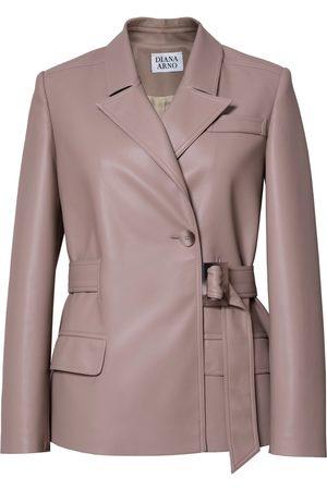 Women Leather Jackets - Women's Vegan Natural Leather Bridget Blazer Small DIANA ARNO