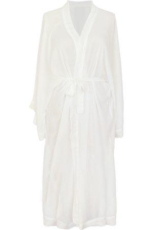 Women's Organic White Marla Bamboo Long Kimono Eco Intimates