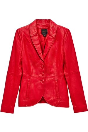 Women's Red Leather The Denise Recycled Blazer Small AS by DF
