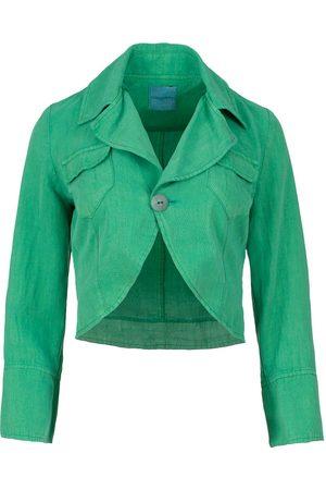 Women's Artisanal Green Tencel Bolero Style Jacket Large Conquista