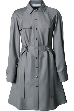 Women Party Dresses - Women's Low-Impact Green Wool Elsa Mini-Length Dress Small DIANA ARNO