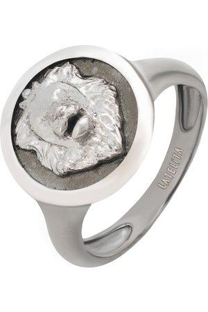Men Rings - Men's Artisanal Silver Rhodium Aslan Lion Oxidised Ring LATELITA