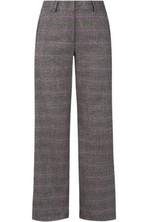 Women Straight Leg Pants - Women's Grey Check- Straight Short Cut Trousers XL BYLUMA