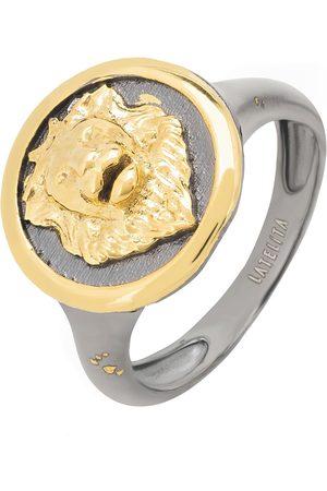 Men Rings - Men's Artisanal Gold Aslan Lion Oxidised Ring LATELITA