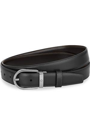 Montblanc Horseshoe Leather Ruthenium-Finish Buckle Belt