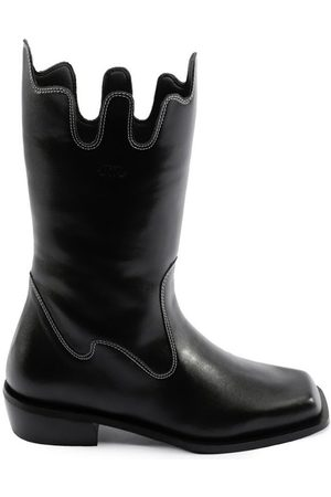 Women Cowboy Boots - Women's Recycled Black Cotton Apollo Boots Shoes 3 UK JIIJ