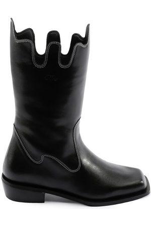 Women Cowboy Boots - Women's Recycled Black Cotton Apollo Boots Shoes 9 UK JIIJ