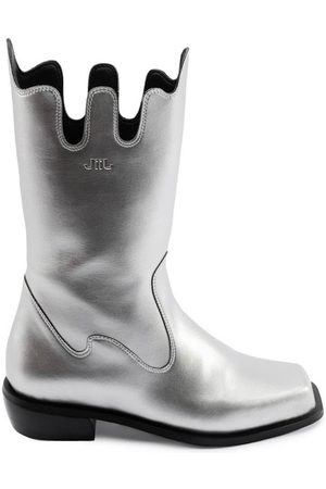 Women Cowboy Boots - Women's Recycled Silver Cotton Apollo Boots Shoes 3 UK JIIJ
