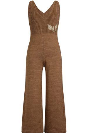 Women Jumpsuits - Women's Artisanal Brown Cotton Mina Jumpsuit S/M Raices by Maud