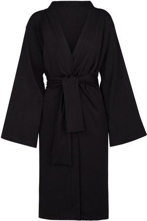 Women's Artisanal Black Cotton Ines Organic Midi Kimono Large GUARDI