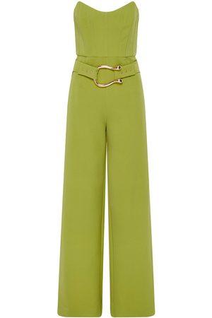 Women Jumpsuits - Women's Green Fabric Sigrid Jumpsuit Lime Medium Derma Department