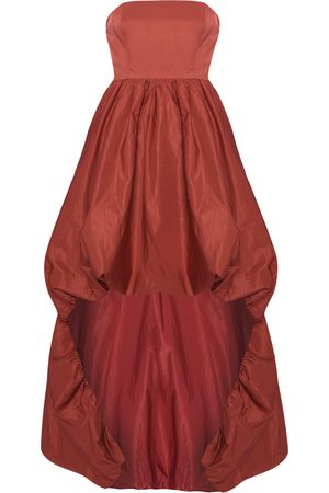 Women Strapless Dresses - Women's Burgundy Strapless High Low Dress Medium True Decadence