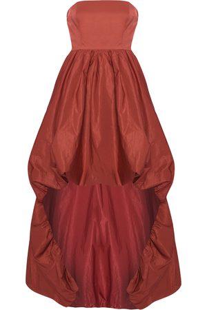 Women Strapless Dresses - Women's Burgundy Strapless High Low Dress XS True Decadence