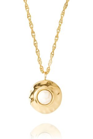 Women Necklaces - Women's Artisanal White Molten Gold Set Stone Pendant Florence London