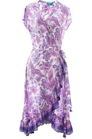Women Bathrobes - Women's Natural Fibres Purple Bali Bliss Wrap Dress Small Tikinistika