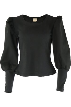 Women's Organic Black Cotton Long Sleeve Top With Balloon Sleeves Gunda Hafner Ltd