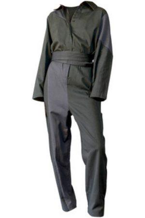 Women Jumpsuits - Women's Artisanal Grey/Green Cotton Bauhaus Jumpsuit Medium Filanda n.18