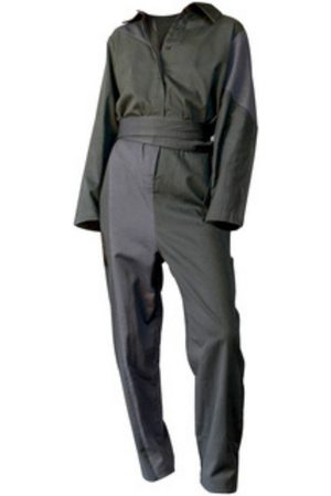 Women's Artisanal Grey/Green Cotton Bauhaus Jumpsuit Small Filanda n.18