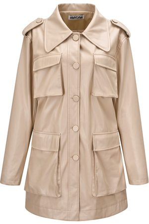 Women Leather Jackets - Women's Natural Leather Sibbi Coat Large AMY LYNN
