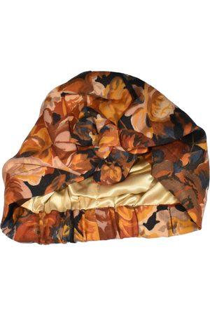 Women Hair Accessories - Women's Artisanal Brown Wool Tot Knot Turban Hat / Head Wrap - Vintage Autumn Rose Scarf Large Tot Knots of Brighton