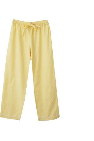 Women Pajamas - Artisanal White Cotton Women's Pyjama Trousers - Lemon Gingham Medium Billy Sleeps
