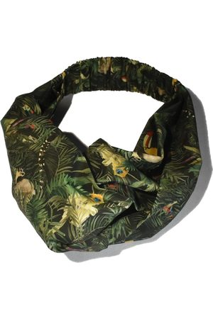 Women's Green Cotton Tot Knot Twisted Turban Headband - Liberty Of London Tou-Can Hide - Jungle Animals Scarf Medium Tot Knots of Brighton