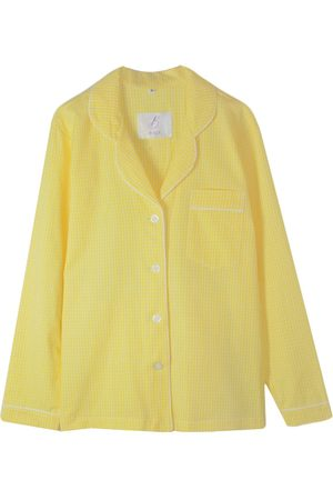 Women Pajamas - Artisanal White Cotton Women's Pyjama Shirt Organic - Lemon Gingham Large Billy Sleeps