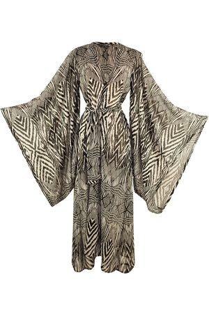 Women Kimonos - Women's Artisanal Madagascar Tribal Chevron Kimono XL Jennafer Grace