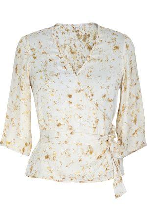 Women's Artisanal Orange Fabric Mary Wrap Top XL Maatie
