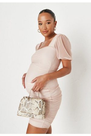 Missguided Women Party Dresses - Peach Mesh Ruched Milkmaid Maternity Mini Dress