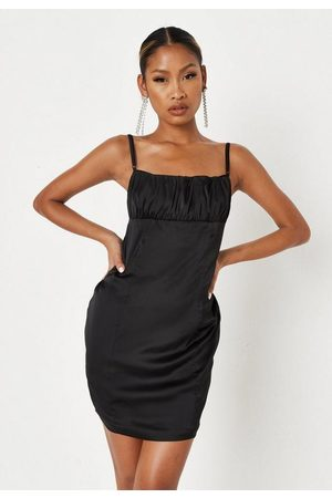 Missguided Satin Ruched Front Cross Back Mini Dress